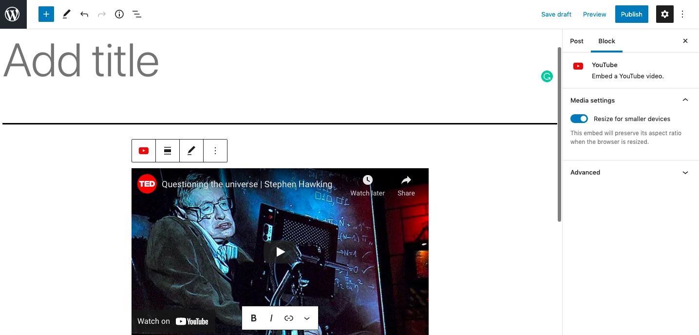 Cómo incrustar un video de YouTube en WordPress (6 métodos) - 1633848663 153 Como incrustar un video de YouTube en WordPress 6 metodos